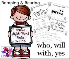 Free Romping & Roaring Primer Sight Words Packs Set 13: who, will, with, yes - playdough mats, dot marker words, color by letter and more - 3Dinosaurs.com