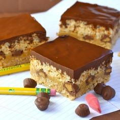 Triple Peanut Butter?  Krispie Treats layered with PB Fudge and PB Ganache?  They made going back to school OK.