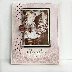 Håndlaget bursdagskort til jente med vintage-motiv.
