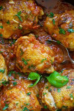 Italian Braised Chicken - delicious one-pot braised chicken recipe with tomato and basil sauce. Amazing weeknight meal for the family   rasamalaysia.com