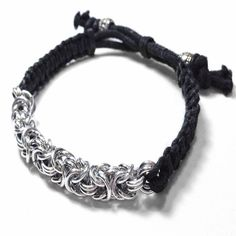 Korey I Chainmaille Macrame Adjustable Unisex Bracelet by Penny Cheng – Saniki Creations Handmade Chainmaille and Adornments
