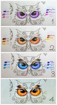 Atelier Gina Pafiadache: Floresta Encantada - Enchanted Forest - Olho da Coruja - sugestão de cores.