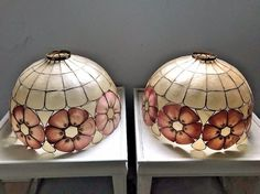 Pair of 2 Vintage Capiz Shell Large Lamp Shades  #Unbranded #CaprizShell