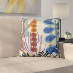 Braylen Jungle Floral Print Outdoor Throw Pillow