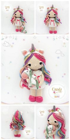 Doll Amigurumi Free Pattern, Crochet Dolls Free Patterns, Crochet Unicorn Pattern Free, Amigurumi Doll, Crochet Fairy, Cute Crochet, Crochet Beanie, Poney Crochet, Crochet Doll Tutorial