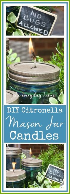 Using some basic jars & purchased wicks you can create your own DIY Citronella Mason Jars for literally pennies. Use alone or in a patio table centerpiece. Mason Jar Candles, Mason Jar Crafts, Mason Jar Diy, Scented Candles, Citronella Candles, Oil Candles, Candels, Candle Making Business, Aromatherapy Candles