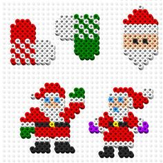 Santa - Christmas perler beads by celestefarr Perler Bead Ornaments Pattern, Hama Beads Patterns, Beading Patterns, Christmas Perler Beads, Beaded Christmas Ornaments, Christmas Crafts, Art Perle, Beaded Banners, Peler Beads