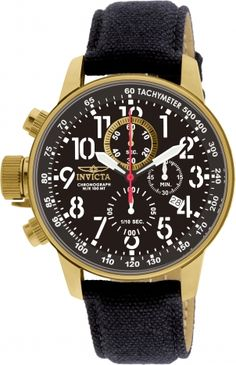 a3a0babb2 Amazon.com: Invicta Men's 1515 I Force Collection 18k Gold Ion-Plated Watch  with Black Cloth-Covered Band: Invicta: Watches