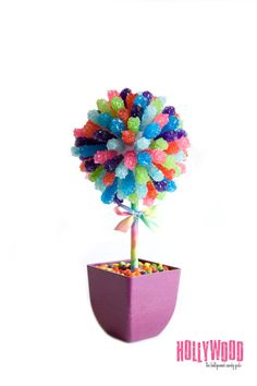 Rainbow Rock Candy Centerpiece Topiary Tree, Candy Buffet Decor, Candy Arrangement Wedding, Mitzvah, Party Favor, Edible Art. $78.99, via Etsy.