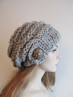 Gray Slouchy Beanie Slouch Wool Hats Oversized Baggy ❤ by Lacywork, $45.99