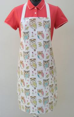 Pretty Owls  - Adult PVC Apron, Oilcloth Apron,Waterproof Apron, by OneLeggedGoose on Etsy