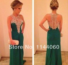 2014 New coming Green Prom dress A Line Chiffon Beaded Squins Crystals High Collar Back Transparent Formal Evening Gown US $139.00