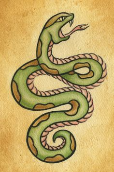 Traditional serpent Old School Tattoo Designs, American Traditional, Snake, Nail Art, Vintage Tattoos, Animals, Tatoos, Art Ideas, Animales