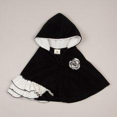 Black & Ivory Side Ruffles Hooded Poncho - Million Polkadot Kids >> Adorable!