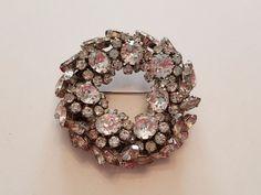 Vintage SCHOFFEL & CO Austria rhinestone wreath brooch Crown Signed