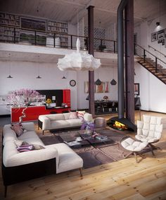 Industrial Loft Organic coccoon like pendant light crowning fireplace living on blonde hardwood floors With White Sofa and Artistic Lamp