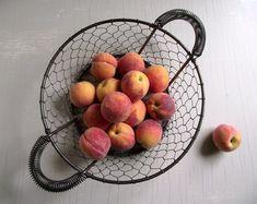 Modern Wire Basket , Chicken Wire Basket , Vintage Kitchen Storage Basket , Fruit Vegetable Trug , Modern Farmhouse Decor