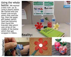 Reuse/Recycle crafts using the whole plastic bottle: Flower, apple, bracelet.