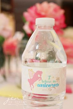 Add some magic to your Unicorn Party with these adorable Rainbow Unicorn Water Bottle Labels.  Each label measures 9 x 1.35, and fits standard size water bottles.  You will receive one high-resolution PDF that holds 4 printable water bottle labels, along with full printing & usage instructions.  The files will be available for instant download immediately upon purchase.  No physical items will be delivered.  ***SEE COORDINATING ITEMS IN THE UNICORN COLLECTION HERE: http://etsy.m...