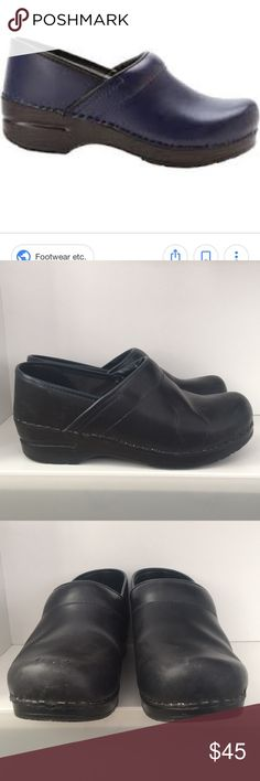 DANSKOS Professional clogs DANSKO Professional clogs navy blue size 37. The right shoe had two shallow cuts at the end of the toe. Overall, the clogs have some wear but are in good used condition with lots of wear left! Dansko Shoes Mules & Clogs