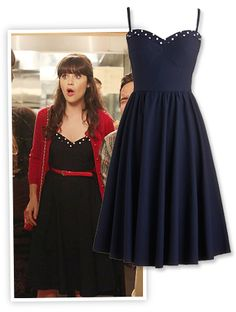 Zooey Deschanel's Indie-Inspired Dress on New Girl Zooey Deschanel New Girl Style Jessica Day, Legging Outfits, New Girl Outfits, Fashion Outfits, New Girl Fashion, Zooey Deschanel Style, Zoey Deschanel, Dress Skirt, Dress Up