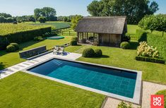 Natural Swimming Ponds, Garden Swimming Pool, Natural Pond, Swimming Pool Designs, Farmhouse Landscaping, Pool Landscaping, Black Garden Fence, Barn Pool, Country Pool