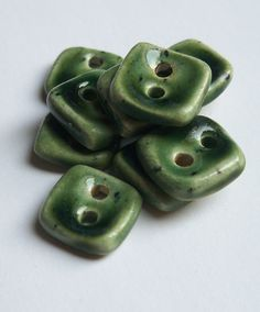 Very Small Bottle Green Ceramic buttons by buttonalia on Etsy, $20.00