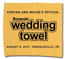 Rally Towels are not just for Steeler Fans ... get your Wedding Rally Towel custom designed today!  #baseballwedding   #stwdotcom
