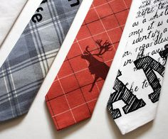 Hunters necktie by Strand. Handprinted and sewn from recycled fabrics.