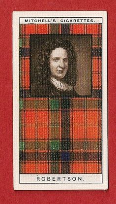 This item is an original cigarette/ tobacco collectors card   issued by  Stephen Mitchell Son  Glasgow  SCOTLAND  1927    This card is one of a set of 25 cards titled  CLAN TARTANS     The subject of this card is :-     ROBERTSON CLAN
