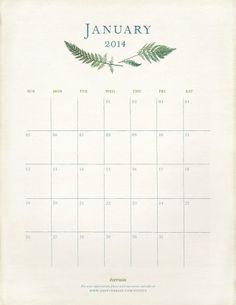 Calendarios imprimibles 2014  gratis para dar la bienvenida al año