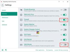How to Turn Off Kaspersky Firewall and Safe Money in Windows 10