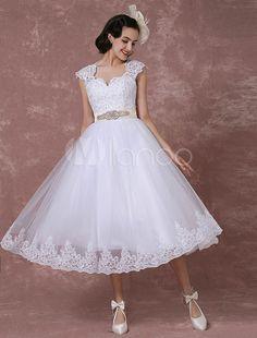 Weddings & Events Candid Vintage Wedding Dresses 1950s Short Bridal Dress Lace Applique Long Sleeve Keyhole Flower Sash Tiered Wedding Reception Wedding