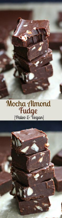 Mocha Almond Fudge - Paleo and vegan. Incredibly rich and delicious healthy Paleo and Vegan Fudge! Mocha Almond Fudge - Paleo and vegan. Incredibly rich and delicious healthy Paleo and Vegan Fudge! Paleo Dessert, Healthy Sweets, Healthy Dessert Recipes, Gluten Free Desserts, Dairy Free Recipes, Real Food Recipes, Fudge Vegan, Vegan Chocolate, Chocolate Recipes
