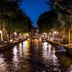 Nighttime canal exploring in Amsterdam.