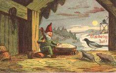 """A Christmas Card showing a typical Scandinavian """"Nisse"""", preparing his Yule porridge. Printed in Denmark and used in Iceland, Christmas 1915."""