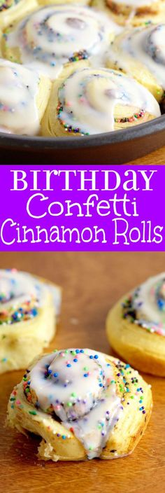 Birthday Confetti Cinnamon Rolls - super quick and easy breakfast recipe idea with just 2 ingredients! I'm making these for the kiddos this year for sure! (cake making cinnamon rolls) Quick And Easy Breakfast, Breakfast For Kids, Breakfast Ideas, Eat Breakfast, Breakfast Muffins, Birthday Breakfast, Baking With Kids, Food Cakes, Diy Food