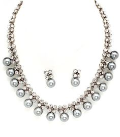 Prom Wedding Bridal Silver Pearl & Crystal Fine Costume Jewelry Necklace Set