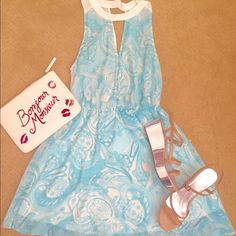 NWOT Aqua Blue Chiffon Dress Gorgeous Aqua blue & ivory paisley print spring to summer dress. Feminine and so pretty! Keyhole front and a drape keyhole back. Lined except for sassy sexy back. Above knee. Prettier in person. Offers welcomeShoes on sale in separate listing. Lush/Nordstrom  Dresses Mini