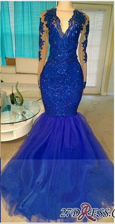 V-neck Royal-Blue Mermaid Beading Sequins Tulle Appliques Long-Sleeve 2017 Prom Dresses_High Quality Wedding Dresses, Prom Dresses, Evening Dresses, Bridesmaid Dresses, Homecoming Dress - 27DRESS.COM