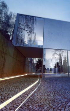 Cube House: personal project of concrete house by Konrad Jamrozik, via Behance