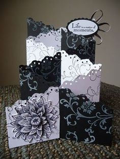 Zig zag card / cascading card - made with 2 different colored papers! Love this idea and the look it achieves!