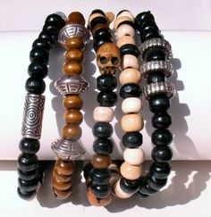 5 Male Bracelets made from wooden beads and by EmmielousHandmades, £9.99