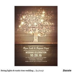 String lights & rustic tree wedding invitations