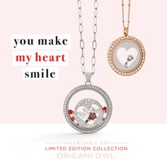 """Tell her """"you make my heart smile"""" with these beautiful Living Locket looks from our limited edition Valentine's Day Collection. I would love to help you create the customizable Locket that will make her heart soar. Comment below if you're ready to create something special! http://ltl.is/9GS5N"""