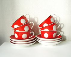 Polka dot  Tea Cups and Saucers Vintage set of 12 by MerilinsRetro, $59.00