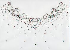 Rhinestone Design Patterns   Mixed Heart Neckline in Crystal