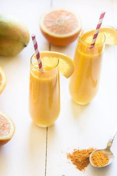 Today's featured smoothie is my Orange Turmeric Smoothie! As many of you know I have expressed my love for turmeric many times and I wanted to create another delicious way for you to consume it. To make this super potent smoothie, I paired the golden turmeric power with a deceivingly humble yet powerful beautifying fruit – oranges.
