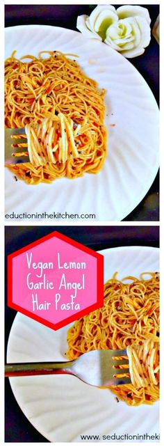 Vegan Lemon Garlic Angel Hair Pasta is a tasty, easy pasta recipe that is vegan, but can be customized to have chicken put into it. A recipe  via @SeductionRecipe