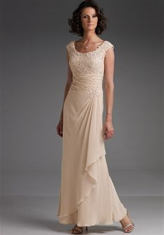 Mother-of-the-Bride/Groom Dress features beading and matching shawl.